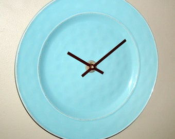 SILENT Aqua Wall Clock, 11 Inch Farmhouse Pottery Style Wall Clock, Kitchen Wall Clock, Plate Clock, Unique Wall Clock, Sky Blue Clock 2165
