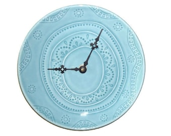 Plate Wall Clock / Boho Wall Clock / Wall Decor / Kitchen Clock / Home and Living / Turquoise Teal Home Decor / Gift Idea 2513