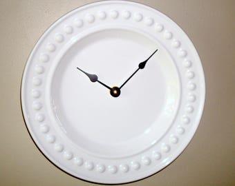 11-1/2 Inch White Wall Clock, Ceramic Plate Clock, Kitchen Clock, Unique Wall Clock, Black and White Wall Decor, Minimalist Wall Clock  2466