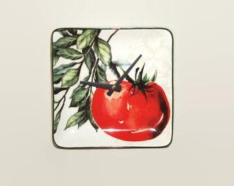 Tomato Clock - Unique Wall Clock - Small Clock - Kitchen Clock - Vegetable Clock - Kitchen Decor - Botanical Wall Decor - 1452