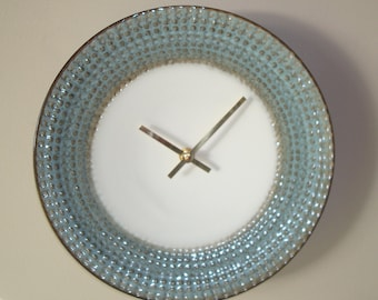 SILENT Silvery Blue and Bronze Wall Clock - Modern Wall Clock - Ceramic Plate Wall Clock - Kitchen Clock - Unique Wall Decor - 2510