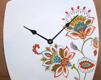 Clock - Wall Clock - Red Blue and Green Whimsical Flowers Porcelain Plate Wall Clock No. 980 (10 inches)