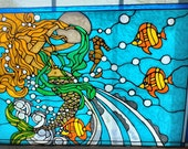mermaid and moon seahorsenautical ocean Horizontal stained glass window