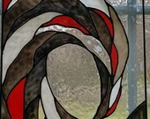 Ocean Wave black, red and white Sea nautical stained glass window