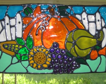 Pumpkin Harvest stained glass window Cling