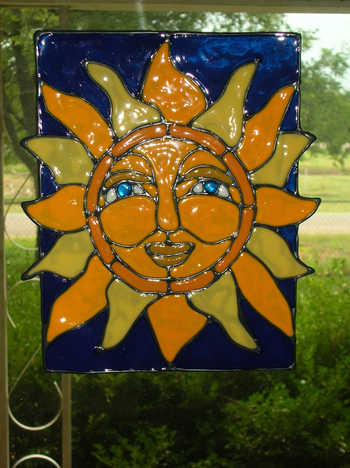 sun with blue stained glass window cling etsy. Black Bedroom Furniture Sets. Home Design Ideas