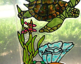 Sea turtle with seaweed and coral stained glass window cling 11 x 12