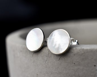 DISC STUDS - 925 SILVER Pearl Studs - Minimal Handmade Mother Of Pearl Earrings - Gift For Her - Birthday Gift Sterling Silver Earrings