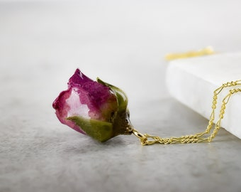 Romantic Rose Bud Necklace - 925 Sterling Gold Plated Chain Purple Botanical Nature Inspired Minimalist Elegant Jewelry Passion Symbol