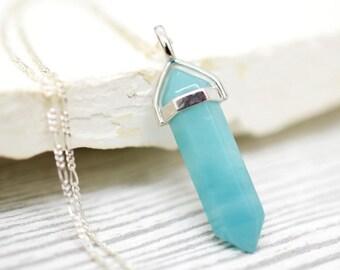 925 Silver Amazonit Pendulum Necklace (K925-112)