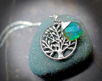 925 sterling silver necklace- Tree of Life & Labradorite (K925-76)