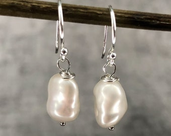 Freshwater Pearls Earrings - White Silver Sophisticated Bridal Jewelry - Delicate Dainty Dangling Drop Baroque Earrings - Mother Day Gift
