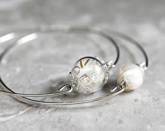 Silver Plated Dandelion Bracelets in Double Package (RETARM-10)