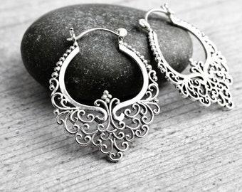Lace Elegant Filigree Hoops 925 Sterling Silver Delicate Chandelier Earrings Art Nouveau Good Karma Oriental Meditation Spiritual Jewelry