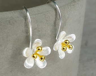 Buttercup Two Tone Dangling Drops - 925 Sterling Silver Bicolor Floral Botanical Earrings - Bridal Bridesmaid Proposal Wedding Jewelry