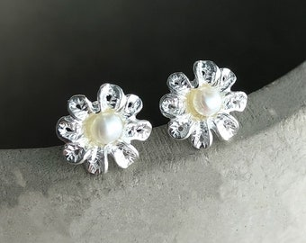 Pearl Classical Flower Ear Studs - 925 Sterling Silver Dimensional Wedding Style Shabby Flowers Bride Jewelry - Feminine Pearls Earrings