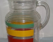Vintage Glass Pitcher Stripes Bands Green Yellow Red Fiesta Go Along