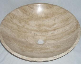 Beige Travertine Vessel Sink Bowl Modern Bathroom Decor