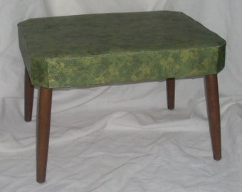 Mid Century Modern Ottoman Bench Foot Stool Green Plastic Upholstery  Tapered Legs