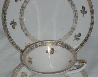 Winterling Gold Art Deco Footed Cup Saucer Plate Trio Bavaria Germany