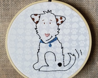 """Finished Hand Embroidery Dog 6"""" Hoop Framed Piece"""