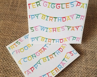 Happy Birthday Card Set of Mini Cards Set of 15 3x3 Note Cards Birthday Make A Wish Card Small Note Cards Cupcake Card with Envelope