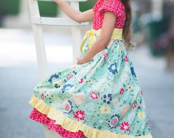 LAST ONE! Meadow Melodies (coordinating line) twirl peasant dress and sash, size 6mos.-10 girls