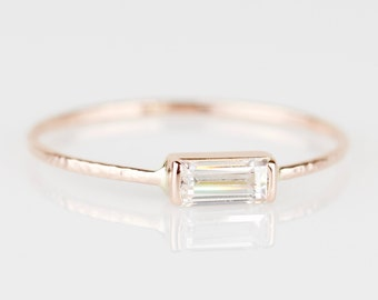 5mm x 2.5mm Art Deco 14k or 18k Gold Step Cut Baguette Cubic Zirconia Stack Ring - Solid 18k 14k Rose Gold Stacking Ring with Step Cut Stone