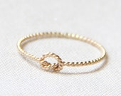 SOLID Gold Rope Knot Ring | 14k Rose or Yellow Gold Ring | Rope Memory Knot Ring | Tiny Twist Knot Stacking Ring | Dainty Love Knot Ring