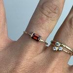 Solid Gold Art Deco Garnet Ring | Emerald Cut Natural Red Garnet Ring | Scarlet Red Ring | Baguette Style Ring | Solid 14k Gold