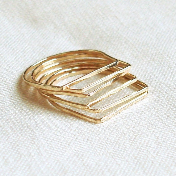 SOLID Gold 14k or 18k Rings Geometric Rings Slim Rings Rose Gold Green Gold  Yellow Gold White Gold Six Square-Top Stack Rings