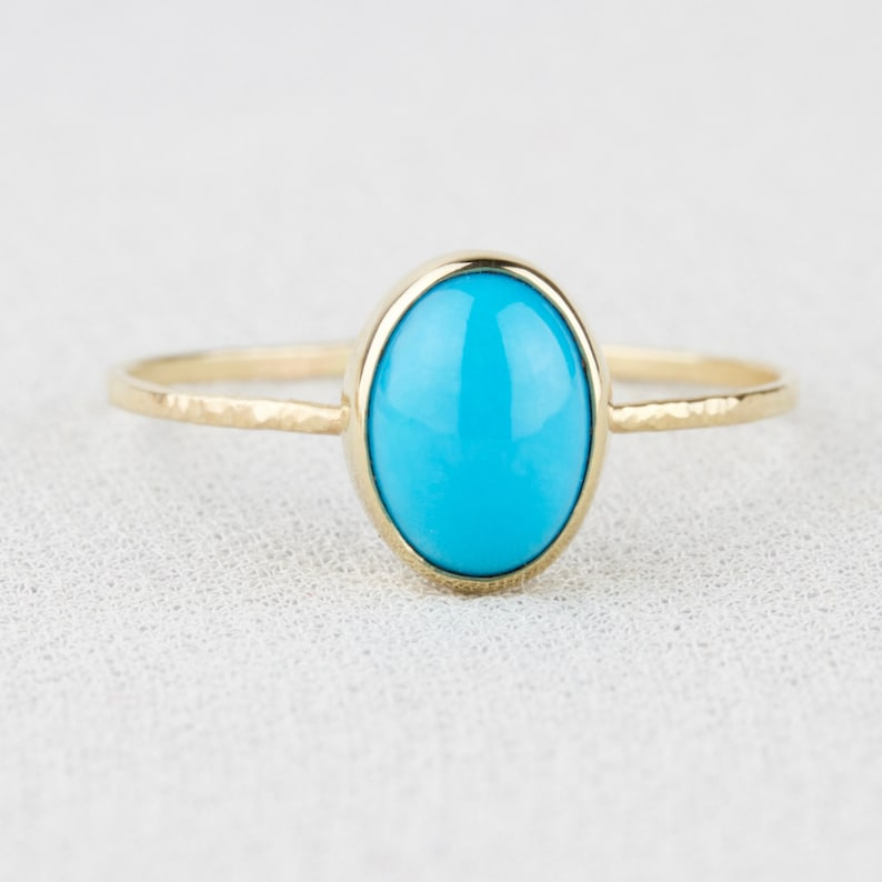 8c65f0eda6b031 Natural Oval Sleeping Beauty Turquoise Ring SOLID 14k Gold | Etsy