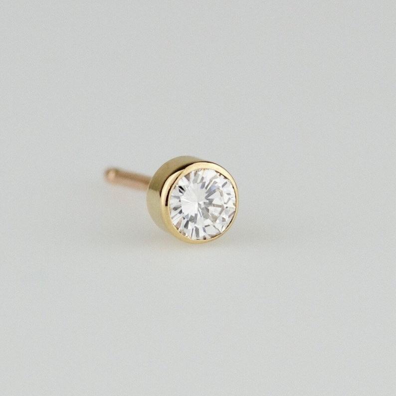 2596878a4 Single Dainty Diamond Stud Natural Diamond Stud Earring | Etsy
