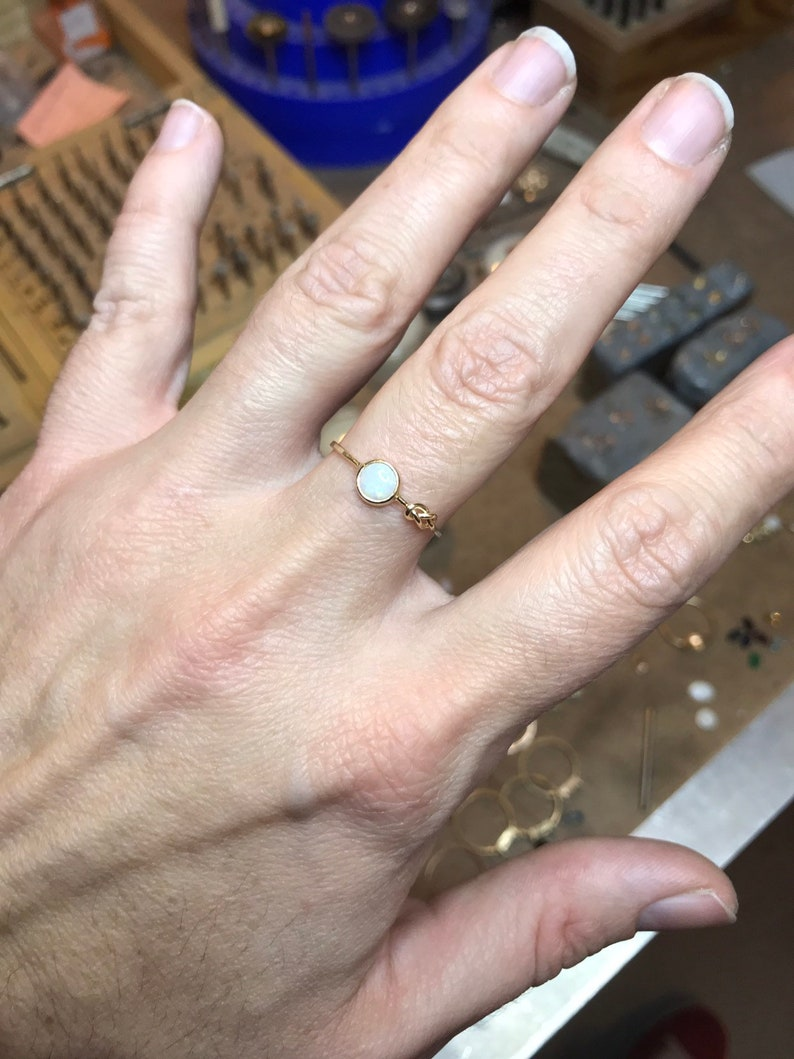 14k Rose Gold SOLID Gold Natural Opal Infinity Knot Ring Yellow Gold October Birthstone Genuine Fiery White Opal White Gold
