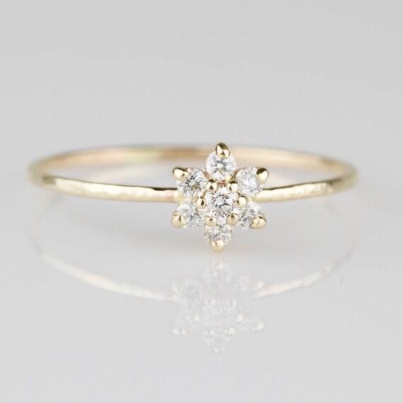 48adf85924e1f Diamond Flower Ring | Natural Diamond Ring | Tiny Diamond Flower Ring |  Gold Flower Ring | Gold Flower Stacking Ring
