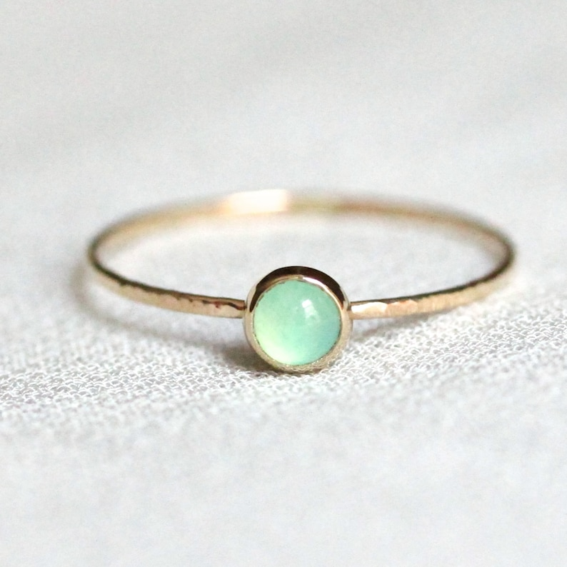 Vivid Green Chrysoprase Ring in SOLID 14k Gold Yellow White or Rose Gold Simple and Tiny Solid 14k Gold Dainty Chrysoprase Stack Ring