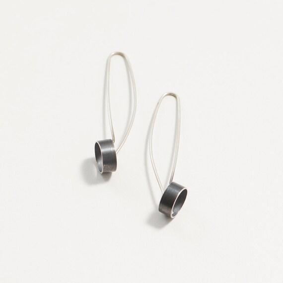 remise pour vente boutique officielle comment avoir Minimaliste dangle tube-boucle d'oreille dangle industriel-boucle d'oreille  goutte dangle boucle d'oreille - argent sterling-oxydé argent