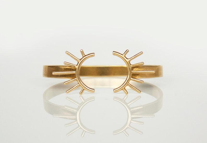 Open Brass Bangle Adjustable Bracelet Gold Burst Sun Burst image 0