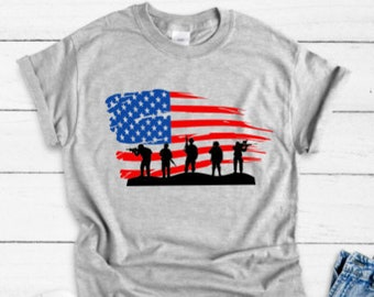 7a24bf67 Soldier American Flag, July 4th Gray Unisex T-shirt / FREE SHIPPING.