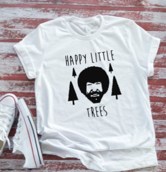 Happy Little Trees, Men's and Women's White Short Sleeve T-shirt / FREE SHIPPING