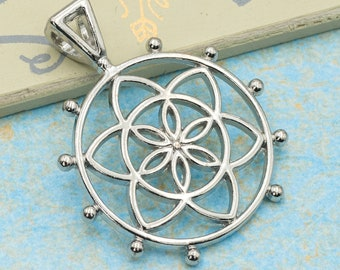 5 Flower Of Life Metal  Pendants, alloy metal,   Silver Tone Charms  -C1016