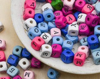 Hemp Beadery Sale mixed colors -B2973 75 Wood  Cube  Beads 10mm 3mm hole