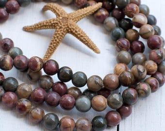 Natural Picasso Stone Beads, 6mm, 7 1/2 Inch Strand, 30pcs,  Round Gemstone Beads -P940