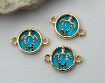 Turtle Connector Charms, 5pcs, Gold Tone Blue,   Enamel jewellery Connector -C1128