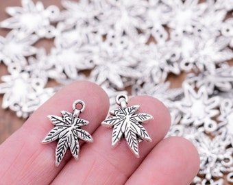 12 Pot leaf Charms, small cannabis pendants for hemp and marijuana jewelry  -C1137
