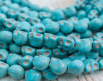 Howlite Skull Beads 12mm, dyed turquoise stone, one 30 piece strand  -B3153