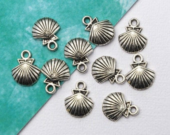 Ocean Sea Charm Metal Beach 12 Pieces Silver Mermaid Back Charms