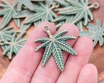 Pot Leaf Pendant,  Metal Leaf Charms, 5 pieces, 33mm, Green / Antique Gold - C1135