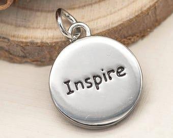 Believe Inspire Charm, 1pc, 15mm, Inspiration Charms,  Bracelet Charm, Antique Silver - C660