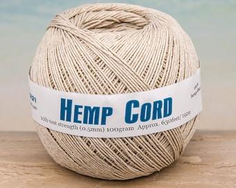 Hemp Cord .5mm, Natural Hemp String,  630 Feet, Macrame Cord, Jewelry Cord, Natural Hemp